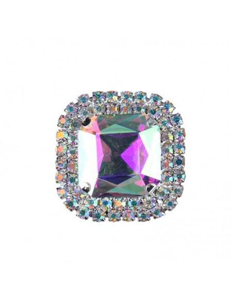 Square Stone setting 3.8X3.8 cm Crystal Aurora Borealis-Silver