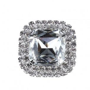 Pietra con castone Quadrata cm 3,8X3,8 Crystal-Silver
