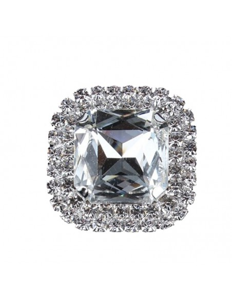 Square Stone setting 3.8X3.8 cm Crystal-Silver