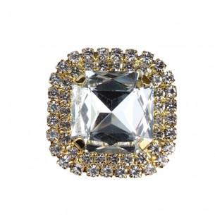 Pietra con castone Quadrata cm 3,8X3,8 Crystal-Gold