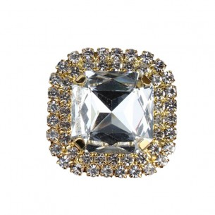 Square Stone setting cm 3,8X3,8 Crystal-Gold