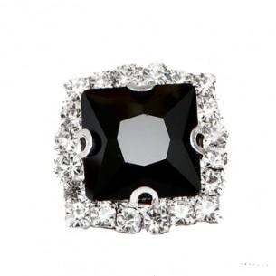 Pietra con castone Quadrata cm 2,2x2,2 Black-Silver
