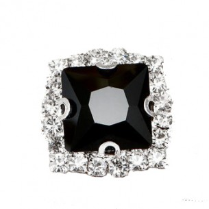 Square Stone setting cm 2,2x2,2 Black-Silver