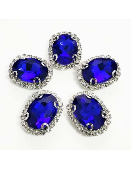 Oval Stone setting 1.9x2.3 cm Sapphire-Silver