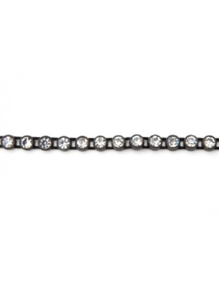 Bordura Strass su Filo ss 12 (mm 3,20) Black-Crystal - 1MT