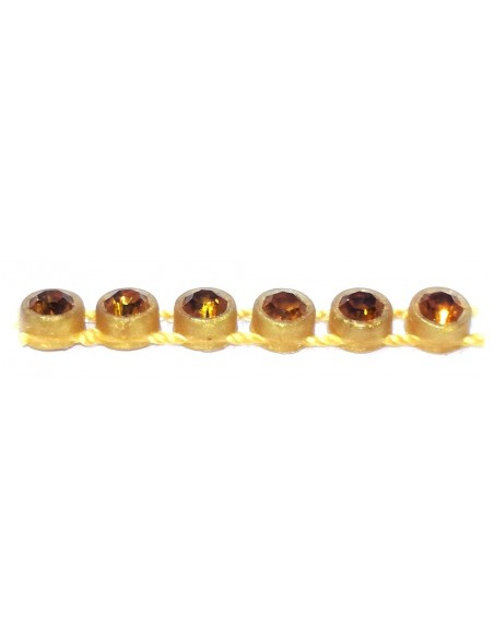 Bordura Strass su Filo ss 13 (mm 3,30) Gold-Topaz - 1MT