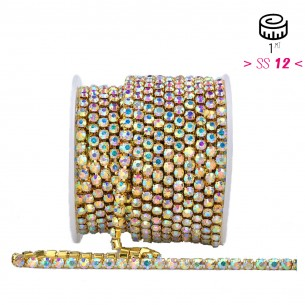 Catena Strass ss 12  Crystal AB-Gold - 1MT