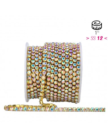 Strass chain ss 12 Crystal AB-Gold  -...