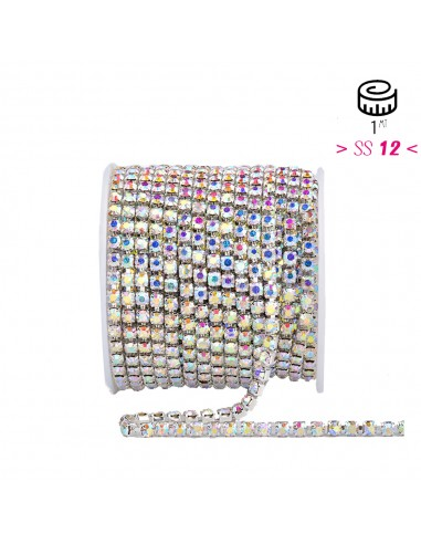Strass chain ss 12 Crystal AB-Silver...