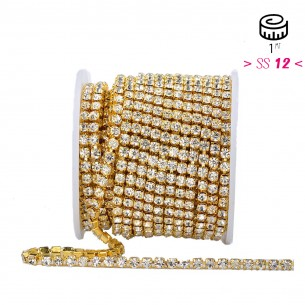 Catena Strass ss 12  Crystal-Gold - 1MT