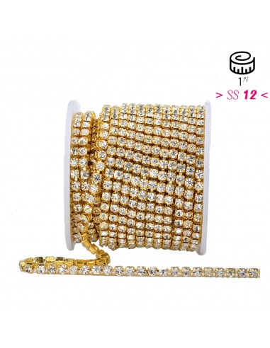 Strass chain  ss 12 Crystal-Gold - 1MT
