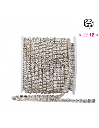 Strass chain ss 12 Crystal-Silver  - 1MT