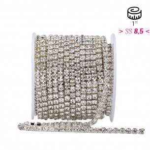 Catena Strass ss 8,5 Crystal-Silver - 1MT