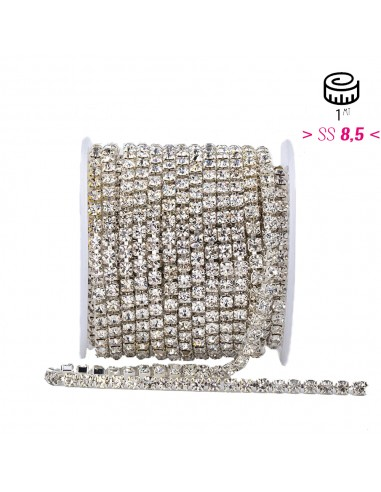 Strass chain ss 8.5 Crystal-Silver - 1MT