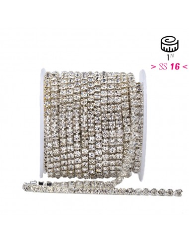 Strass chain ss 16 Crystal-Silver - 1MT