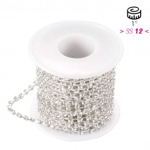 Catena Strass Distanziata ss 12  Crystal-Silver - 1MT