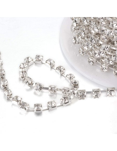 Catena Strass Distanziata ss 8,5  Crystal-Silver - 1MT