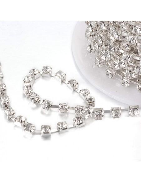 Catena Strass Distanziata ss 16  Crystal-Silver - 1MT