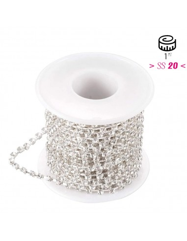 Catena Strass Distanziata ss 20 Crystal-Silver - 1MT