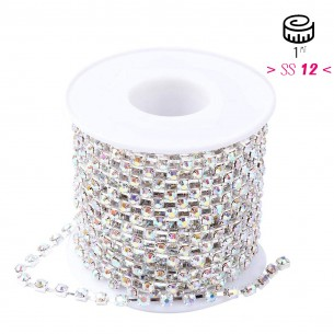 Catena Strass Distanziata ss 12  Crystal AB-Silver - 1MT