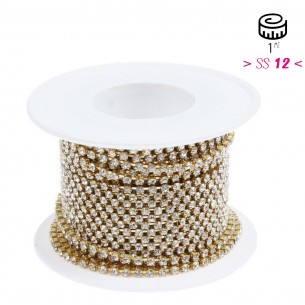 Catena Strass Distanziata ss 12  Crystal-Gold - 1MT
