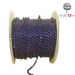 Catena Strass ss 12  Sapphire-Bronzo - 1MT