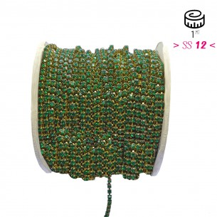 Catena Strass ss 12  Emerald-Bronzo - 1MT