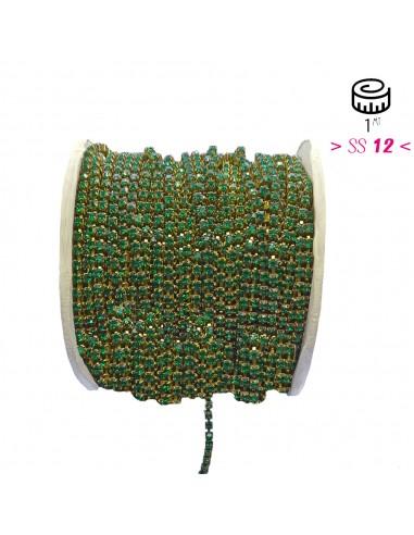 Strass chain ss 12 Emerald-Bronze - 1MT
