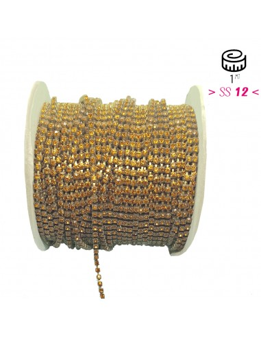 Strass chain ss 12 Topaz-Bronze  - 1MT