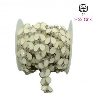 Catena Strass Gioiello  cm 2,5 Crystal-Pietra White-Silver - 1MT