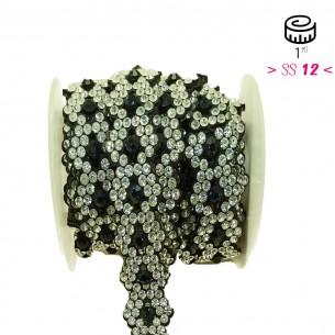 Bordura Strass Gioiello Termoadesiva a forma di Rombi cm. 2,1 Crystal/Montana - 1MT