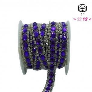 Catena Strass Gioiello cm 1,6 Pietra Purple-Strass Crystal-Silver - 1MT