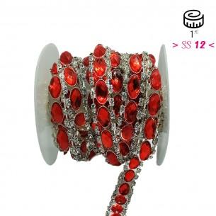 Catena Strass Gioiello cm1,6 Pietra Light Siam-Strass Crystal-Silver - 1MT