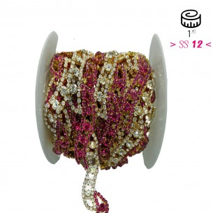 Catena Strass Gioiello cm 2,0 Strass Crystal-Fuchsia-Gold - 1MT