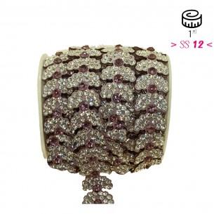 Bordura Strass Gioiello Termoadesiva a forma di Foglie cm. 2,0 Crystal/Light Rose - 1MT