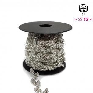 Catena Strass Foglia Gioiello cm 1,5 Crystal -Silver - 1MT