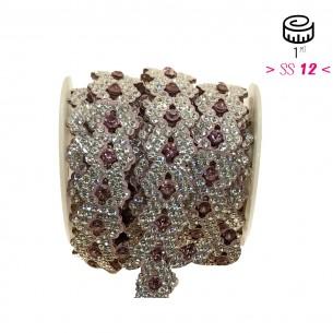 Bordura Strass Gioiello Termoadesiva a forma di Rombi cm. 2,0 Crystal/Light Rose - 1MT