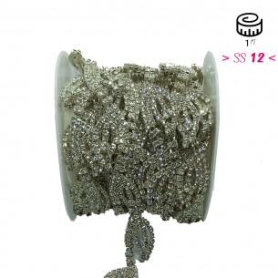 Catena Strass Gioiello cm 2,0 Crystal-Silver - 1MT
