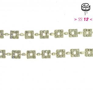 Catena Strass Gioiello Quadrata cm 1,0 Crystal-Silver - 1MT