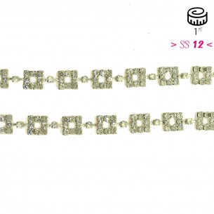 Catena Strass Gioiello Quadrata cm 1,0 Crystal-Silver - 1MT