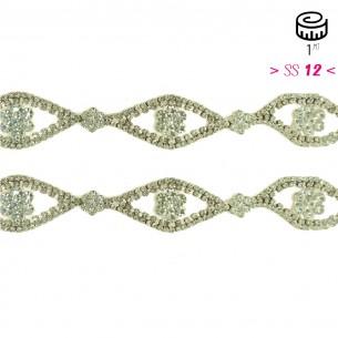 Catena Strass Gioiello cm 3,0 Crystal-Silver - 1MT