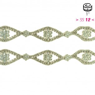 Catena Strass Gioiello cm 3,0 Crystal-Silver - 1MT