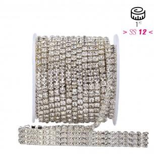 Catena Strass ss 12  a 3 FILI Crystal-Silver - 1MT