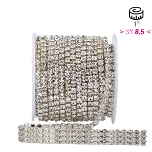 Catena Strass ss 8,5 3 FILI Crystal-Silver - 1MT
