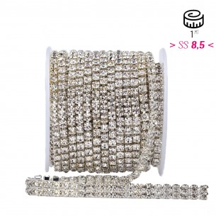 Catena Strass ss 8,5  2 FILI Crystal-Silver - 1MT