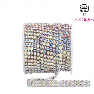 Catena Strass ss 8,5  2 FILI Crystal AB-Silver - 1MT