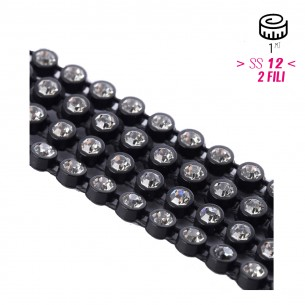 Bordura Strass su Rete ss 12 (mm 3,20) 2 Fili Black-Crystal - 1MT