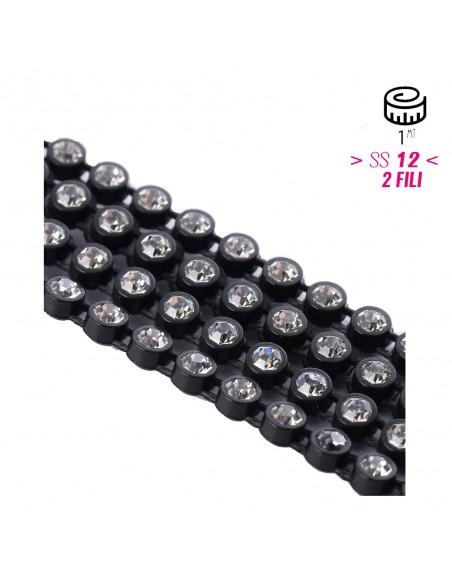 Bordura Strass su Rete ss 12 (mm 3,20) 2 Fili Black-Crystal - 1MT