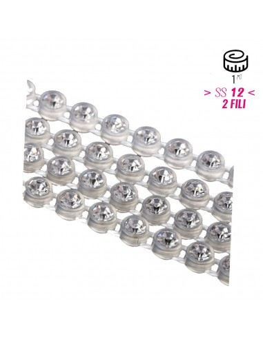 Bordura Strass su Rete ss 12 (mm 3,20) 2 Fili Trasparent-Crystal - 1MT