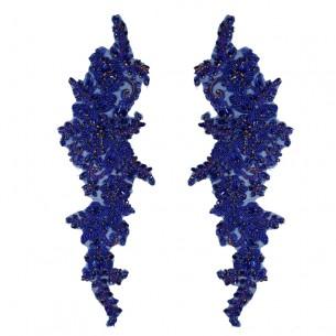Applicazione Strass Sapphire su tulle Blu cm 37,5x10,5 - 1PZ